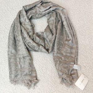 Cache silver metallic scarf NWT